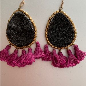 Purple Tassled Statement Earrings